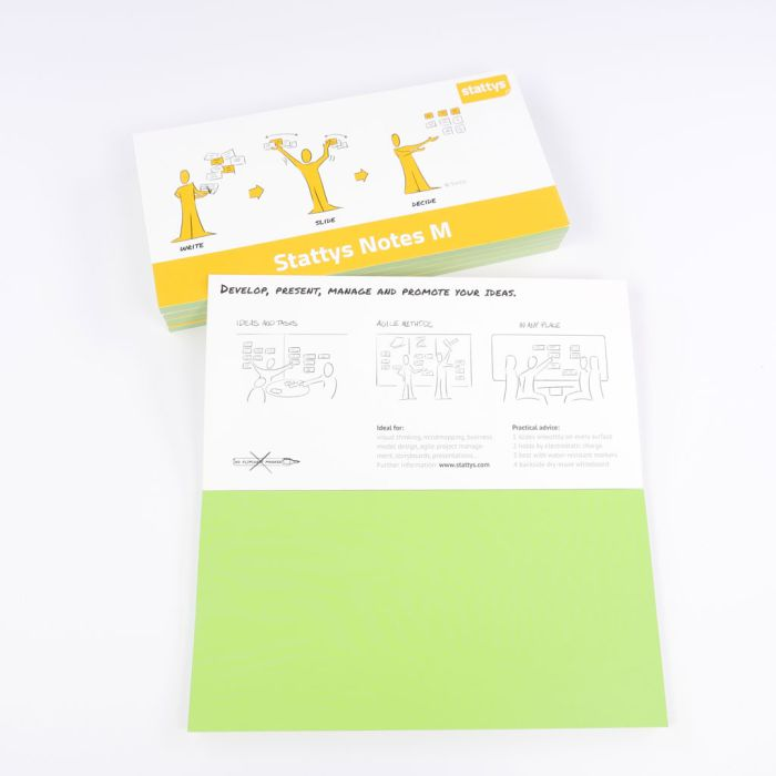Set of 5 green, Electrostatic self-adhesive moderation cards, self-adhesive notepaper, sticky magnetic notes, moderation card, stattys, stickynotes, stattys notes, statty, electrostatic foil, notepad, pad for drawing, office set, static notepad