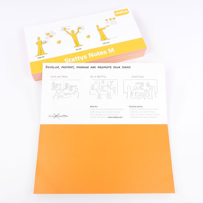 Set of 5 orange, Electrostatic self-adhesive moderation cards, self-adhesive notepaper, sticky magnetic notes, moderation card, stattys, stickynotes, stattys notes, statty, electrostatic foil, notepad, pad for drawing, office set, static notepad