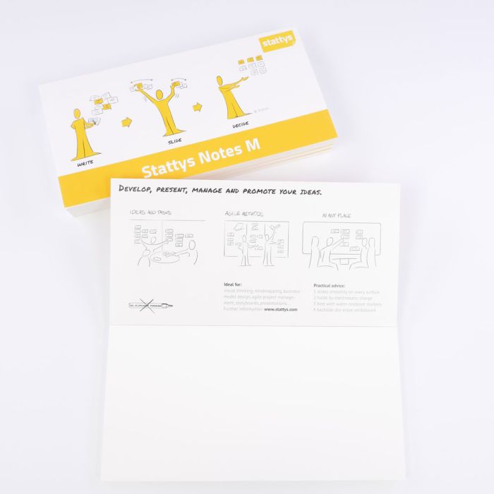 Set of 5 white, Electrostatic self-adhesive moderation cards, self-adhesive notepaper, sticky magnetic notes, moderation card, stattys, stickynotes, stattys notes, statty, electrostatic foil, notepad, pad for drawing, office set, static notepad