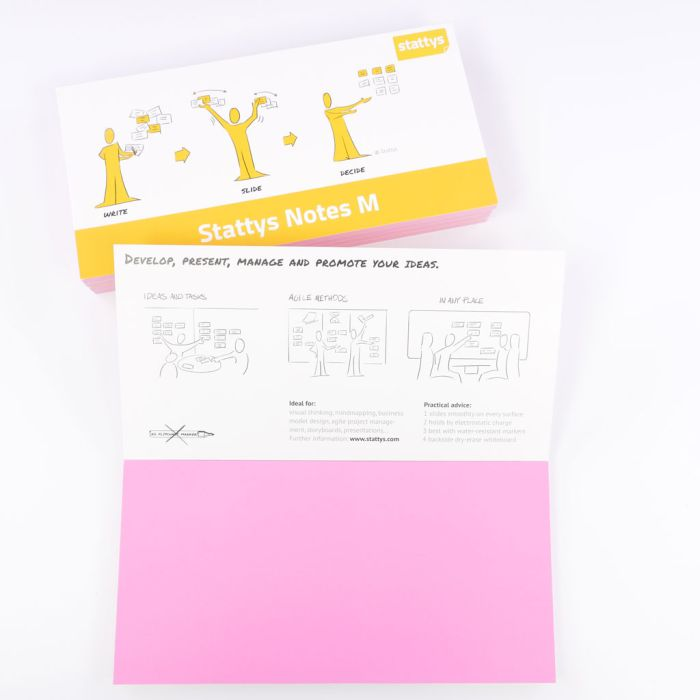 Set of 5 pink, Electrostatic self-adhesive moderation cards, self-adhesive notepaper, sticky magnetic notes, moderation card, stattys, stickynotes, stattys notes, statty, electrostatic foil, notepad, pad for drawing, office set, static notepad