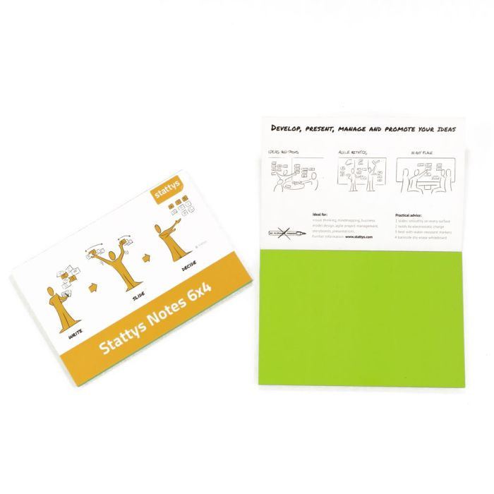 """Stattys Notes 6"""" x 4"""" (15.3 x 10.2 cm), green,  electrostatic self-adhesive moderation cards, self-adhesive notepaper, sticky magnetic notes, moderation card, stattys, stickynotes, stattys notes, statty, electrostatic foil, notepad, pad for drawing, offic"""