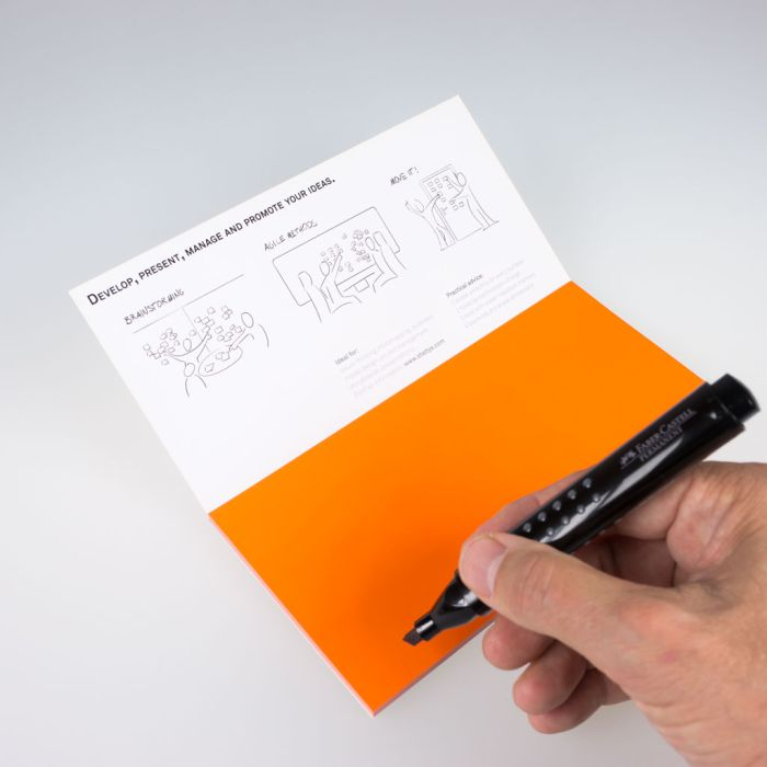 Stattys Notes M orange, Electrostatic self-adhesive moderation cards, self-adhesive notepaper, sticky magnetic notes, moderation card, stattys, stickynotes, stattys notes, statty, electrostatic foil, notepad, pad for drawing, office set, static notepad