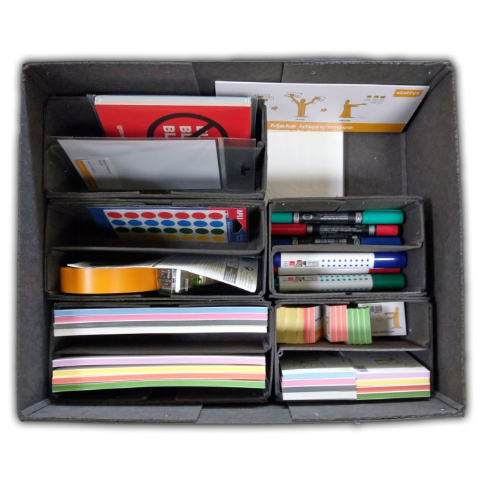 Workshopbox 2.0, Workshop Box 1.0, stattys-notes, sticky-notes, magnetic-notes, writing-pad, notepad, markers, office accessorie set, office accessorie kit, Workshop box, Moderation box, moderation kit, moderation case, Presentation case, Moderation, Mode