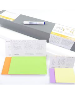 Stattys Starter Set 2 + 2 + 2, Stattys, slickynotes, stattys-notes, Whiteboardfolien, Stattys Notes Starter Set 1, Starter-Kit, Starter-Set Whiteboard, Traveler-Set, Reise-Set, Business-Set, statisches Whiteboard, selbstklebend Whiteboard, elektrostatisch